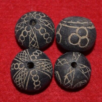 4 decorated Clay Spindle Whorl Beads Mali Africa