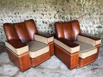 Rare Pair Large Antique Art Deco French Tan Leather Club Arm Chairs Vintage