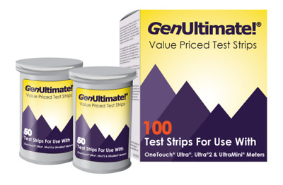 GenUltimate Test Strips 100ct for OneTouch Ultra Ultra2 Meters Exp 05/2020