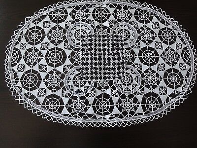 Beautiful Vintage Handmade with Unique Technique Ecru Oval Tablecloth