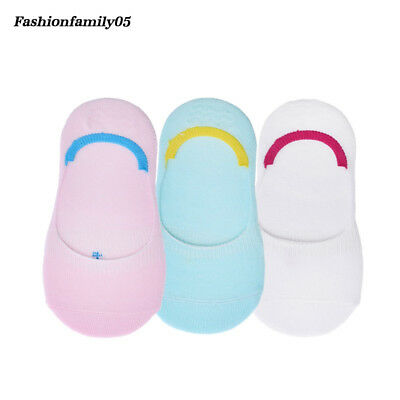 3 Pairs Boys No-slip Cotton Short Socks Grils Kawaii Candy Color Invisible Socks