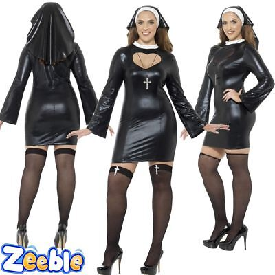 Womens Sexy Nun Costume Ladies Plus Size Nun Fancy Dress Outfit