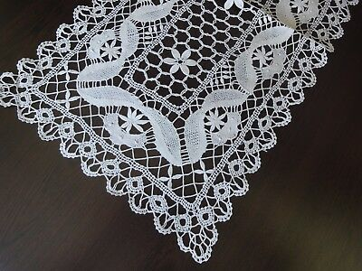 Stylish Vintage Handmade Brussels Lace Beige with Grey Shade Cotton Table Runner