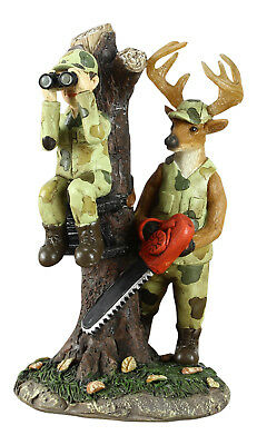 Deer With Chain Saw Cutting Hunter in Tree Stand Funny Tabletop Figurine Decor
