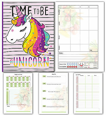 A5 Diet Diary Slimming Weight Loss Tracker Diet Planner Food Journal, Unicorn
