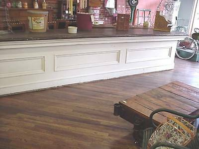 """Old 16' 2"""" Long Painted Pine Store Counter 34 1/2"""" High 30"""" Deep Square Nails"""