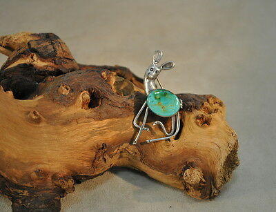 Sterling Silver Vintage Deer Pin with Turquoise