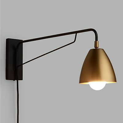 Plug-In Wall Sconce w/Pivoting Swing Arm & Adjustable Antique Brass Shade