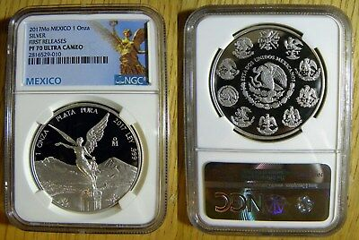 2017 1oz Silver Proof Libertad NGC PF70 FR, NEW Mexican Label- FREE S&H w/BIN !