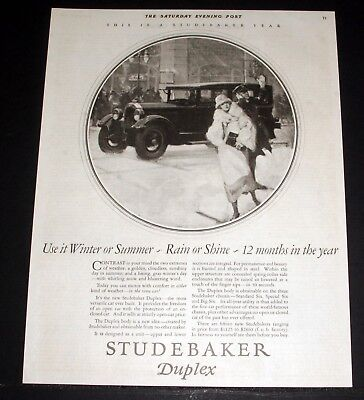 1925 Old Magazine Print Ad, Studebake Duplex, Winter Or Summer, Rain Or Shine!