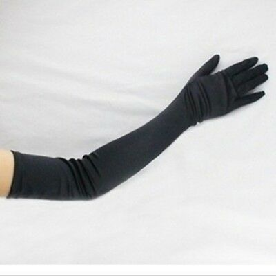 Black Stretch Satin Bridal Evening Opera Prom Over Elbow Long Gloves