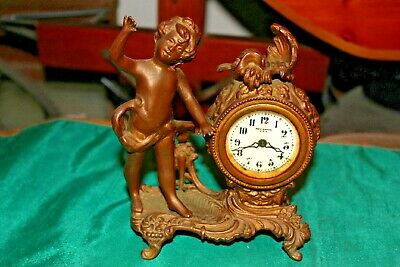 Antique New Haven Mantel Clock-Angel Cherub-Gilt Metal-Scroll Design-Art Nouveau
