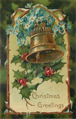 PFB Christmas~Bronze Bell Hangs in Wooden Archway~Forget-Me-Nots~Emboss~Ser 8941