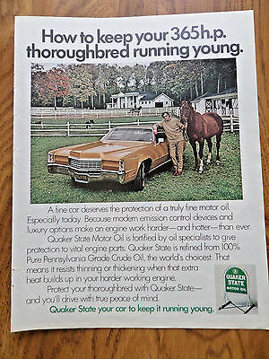 1972 Quaker State Motor Oil Ad  Lincoln Continental Mercury? Thoroughbred Horses