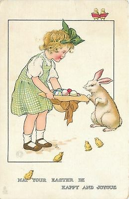 Easter~Lil Girl Offers Eggs In Hat To Bunny~Chicks~TUCK~Joyous Youth~MBH Artist