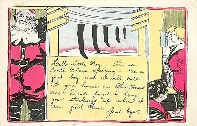 Christmas~Santa~Red Suit~On Phone To Boy~Black Stockings On Telephone Wires~1908