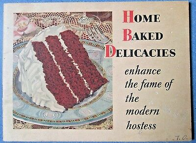 1930 Swans Down Cake Flour Home Baked Delicacies Hostess Recipes Cookbook