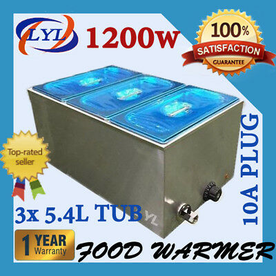 Bain Marie with Tap & Pans 3 x 1/3 Stainless Steel Bain Marie Food Warmer
