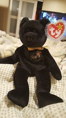 Ty Beanie Baby THE END Black Bear w/Gold Bow Tie - RARE Flat Tush Tag - 1999