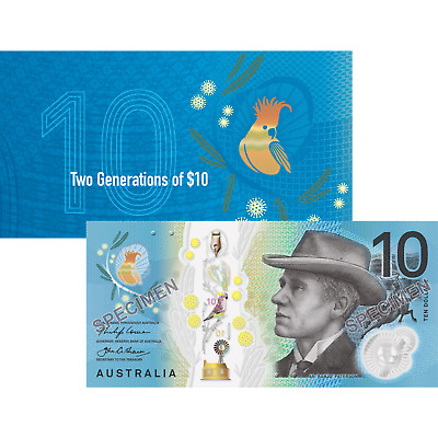 AUSTRALIA BANKNOTES  $10 x 2  TWO GENS - Brilliant 2017 FOLDER Issue in Mint UNC