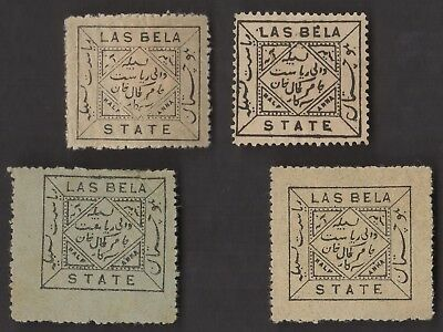 4 LAS BELA (INDIAN STATE) All Different Stamps (c80)