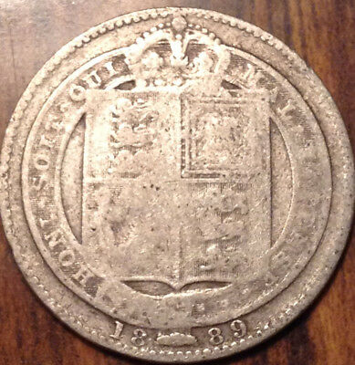 1889 Uk Gb Great Britain Silver Shilling