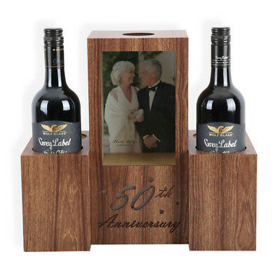50th Anniversary Wine Bottle Holder With LED light Up - Gift Idea - Sentimental
