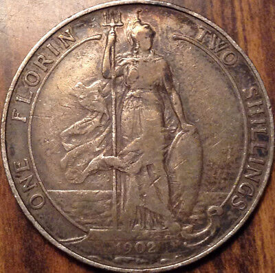 1902 Uk Gb Great Britain Silver Florin In Good Condition !