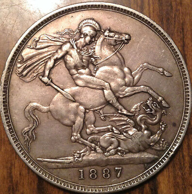 1887 Uk Gb Great Britain Silver Crown Excellent Example !!