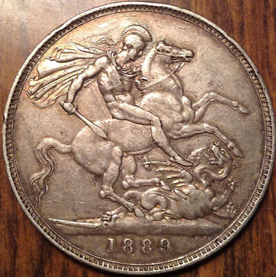 1889 Uk Gb Great Britain Silver Crown Amazing Hg Example !!