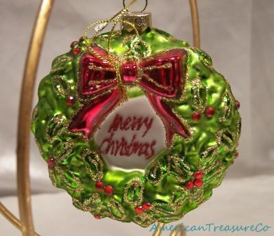 """Detailed 4"""" Glittery Glass Merry Christmas Holly Wreath Figural Holiday Ornament"""