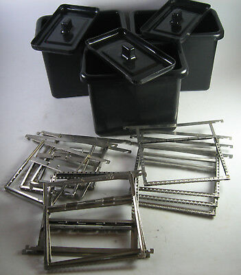 Vintage plastic film developing tank w/ lid & 4 Carr 4x5 stainless hangers
