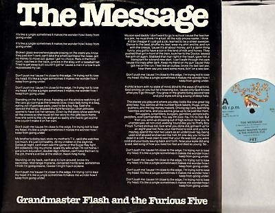 """GRANDMASTER FLASH AND THE FURIOUS FIVE the message 12"""" PS EX/VG+ SHL 117 electro"""