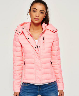 New Womens Superdry Fuji Slim Double Zip Papaya Coral