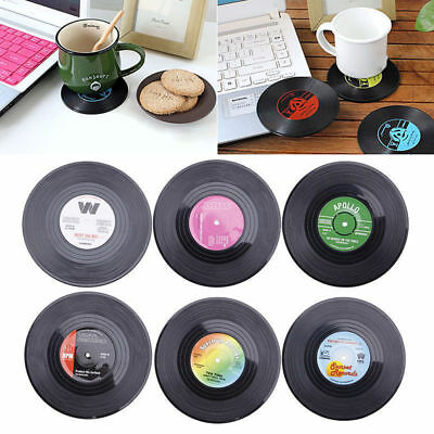 6x Round Vinyl Coaster Groovy Record Cup Drinks Holder Mat Placemat Tableware H