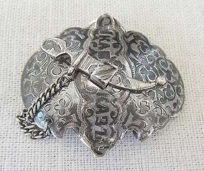 RUSSIAN CAUCASUS ANTIQUE NIELLO SILVER 84 BUCKLE 29 gr. SIGNED: VF 19th CEN.