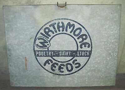 Vtg Wirthmore Poultry Dairy Stock Feeds Advertising Sign Wall Box Paper Storage