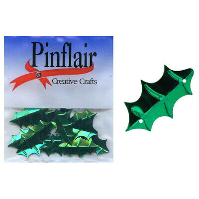 Pinflair Holly Leaf Sequins - Green, DD190, 24mm, pk of 2g