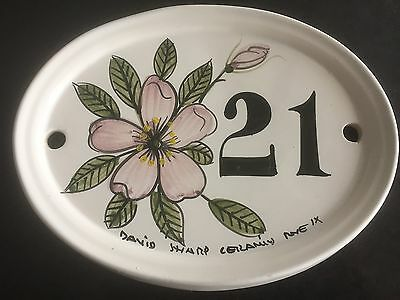 1980s handpainted ceramic house sign from rye in sussex .number 21