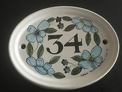 1980s handpainted ceramic house sign from rye in sussex .number 34