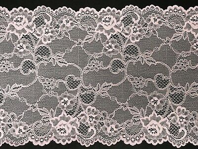 "laverslace - Delicate Pale/Baby Pink Wide Tulle Lace Trim 8.5""/21.25 cm"