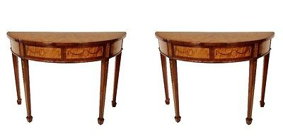 Pair of English Adam Inlaid Satinwood Consoles.