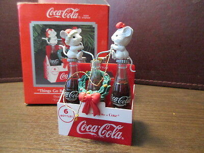Coca-Cola - THINGS GO BETTER WITH COKE - Christmas Ornament - Mice - IOB - 1993
