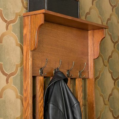 Hall Tree Coat Rack Storage Bench Wooden Entryway Stand Hooks Jacket Hats Shoes