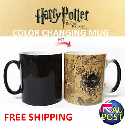 2017 For Harry Potter Marauder's Map Color Changing Heat Sensitive Coffee Mug A^