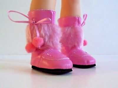 "Pink Pom Fur Boots Fits Wellie Wishers 14.5"" American Girl Clothes Shoes"