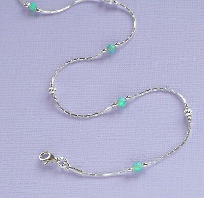 ANKLET OPAL Solid 925 Sterling Silver Chain  Green Ankle Bracelet Made in UK