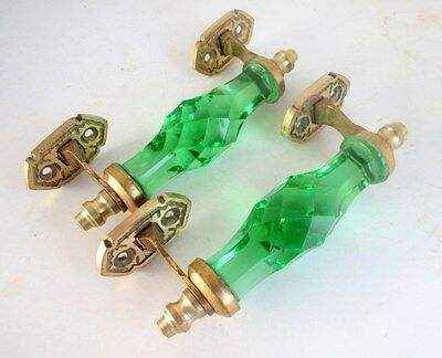 Vintage Look Brass Green Victorian Cut Glass Carved Push Pull Drawer Door Handle