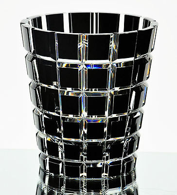 Faberge Black Cased Cut to Clear Crystal Metropolitan Ice Bucket New Signed