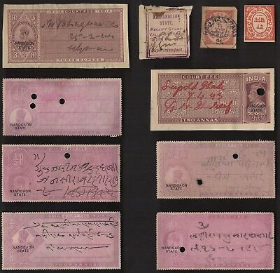 10 NANDGAON (INDIAN STATE) All Different Stamps (c80)